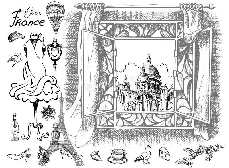 Paryżanin przegląda Sacré Coeur Katedralnych przyciągania i szczegóły wyśmienity urok Paryż royalty ilustracja