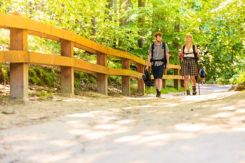 Pary backpacker wycieczkuje w lasowej drodze przemian zdjęcie stock