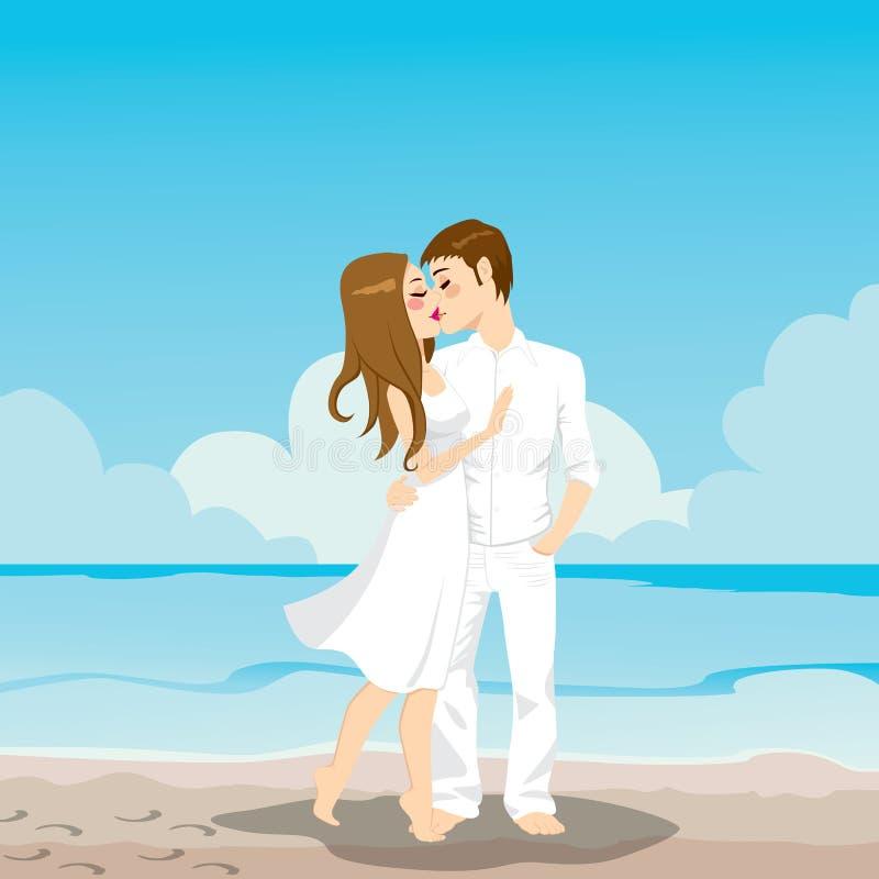 Pary całowanie Na plaży royalty ilustracja