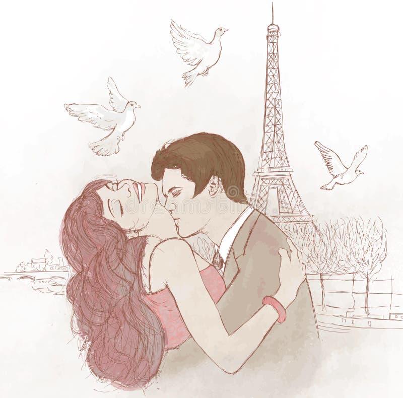 pary całowanie Paris royalty ilustracja