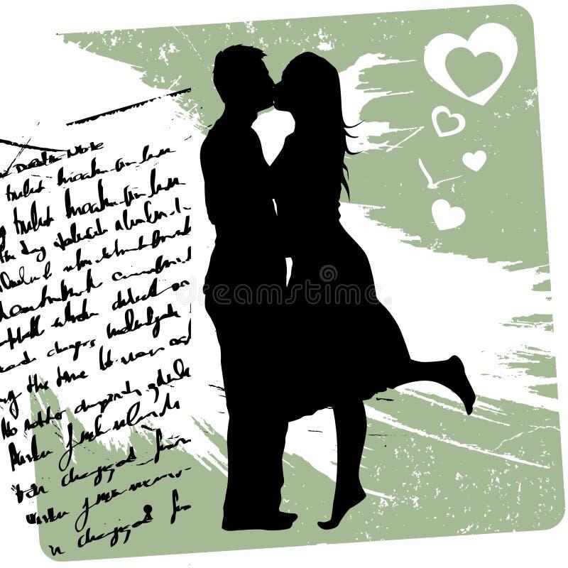 Download Pary całowanie ilustracja wektor. Obraz złożonej z valentines - 23079109