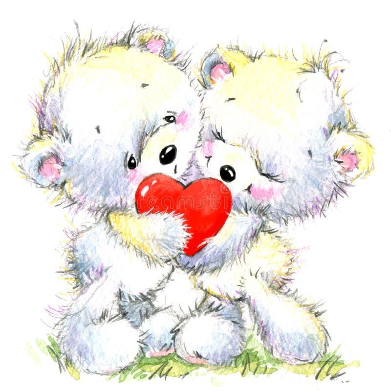 pary dzień ilustracyjny kochający valentine wektor Śliczny Białego niedźwiedzia i czerwieni serce ilustracji
