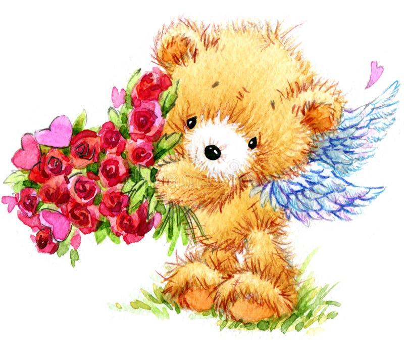 pary dzień ilustracyjny kochający valentine wektor Śmieszny misia i czerwieni serce royalty ilustracja