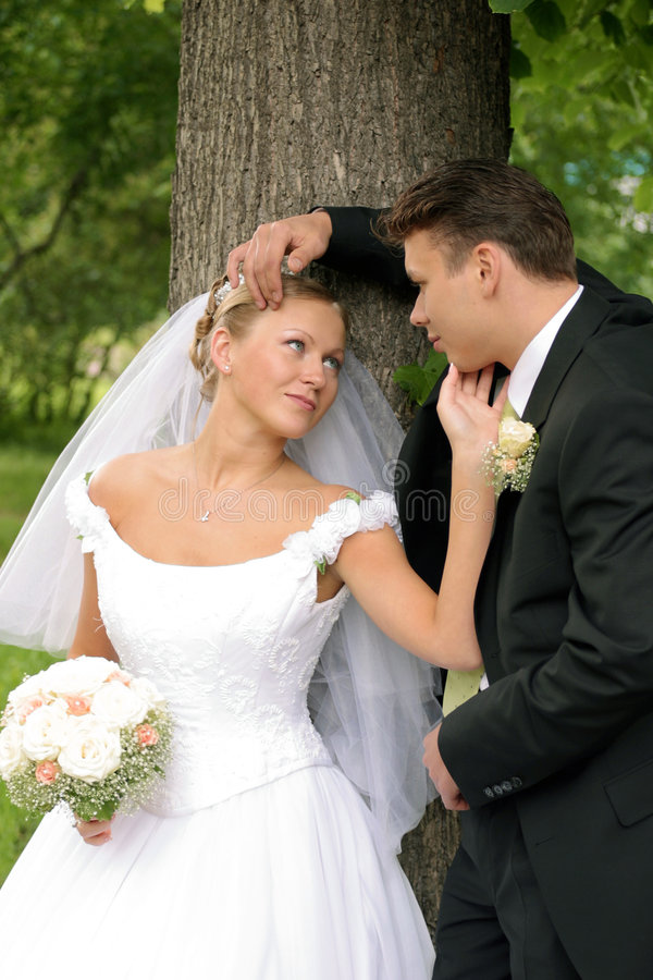 pary dzień nowożeńcy ślub obraz stock