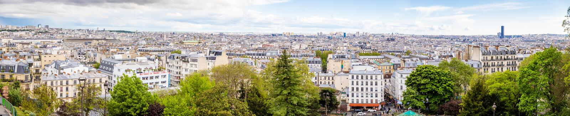 Pary?, Francja - 24 04 2019: Pi?kny widok z lotu ptaka Pary? od Sacre Couer, Pary?, Francja zdjęcia royalty free