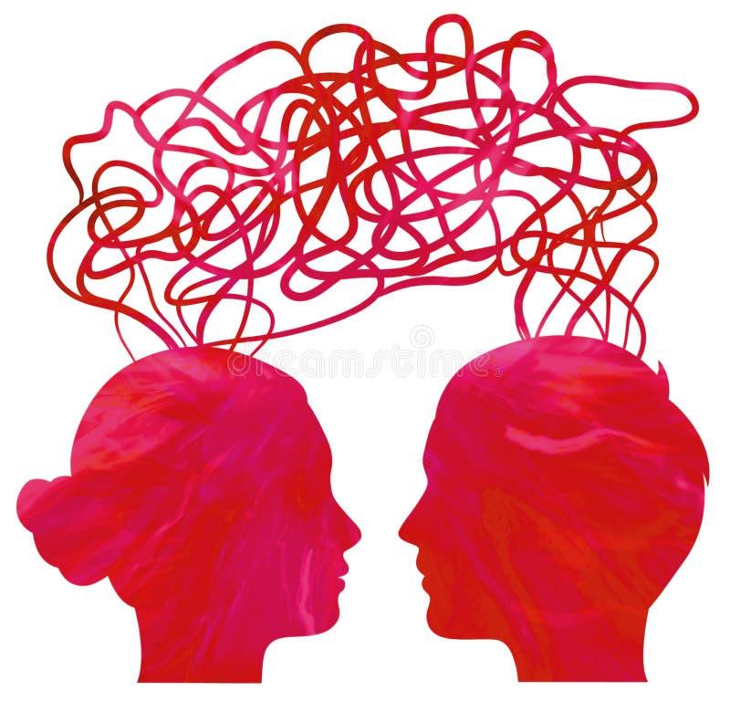 pary głów związek sylwetki główkowanie ilustracji