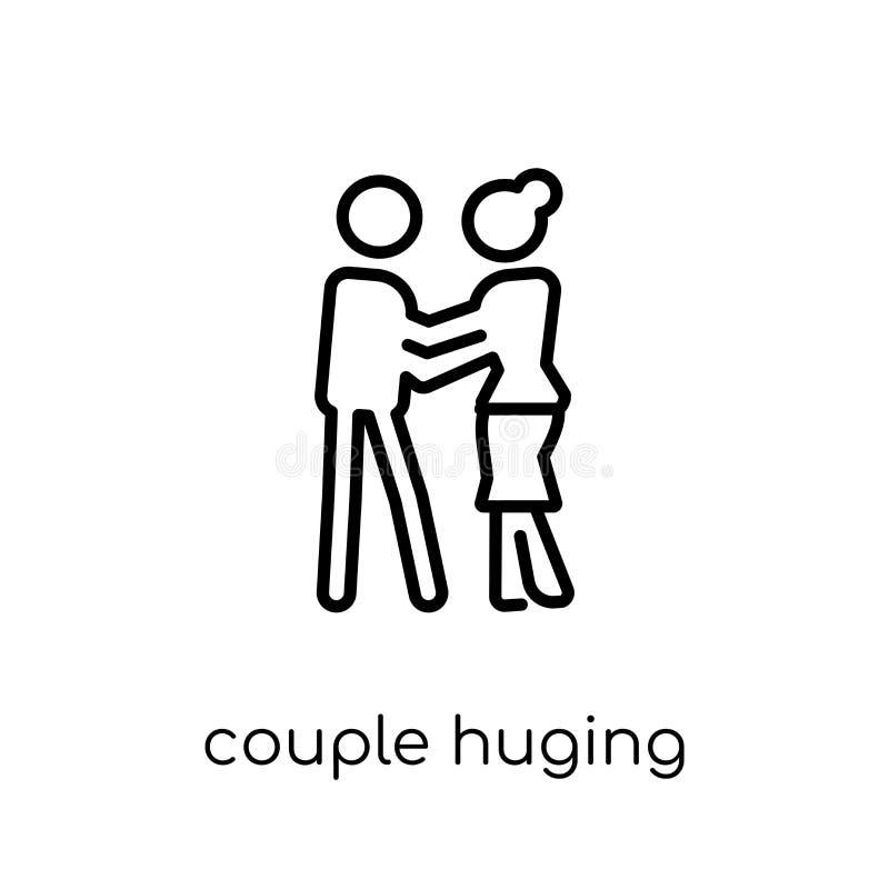 Pary Huging ikona Modna nowożytna płaska liniowa wektorowa para Hugi ilustracji