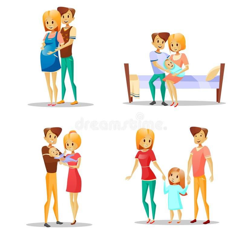 Pary i dziecka wektorowa ilustracja kreskówki szczęśliwa rodzina wychowywa z dzieciakiem, kobieta w ciąży i ojcem z berbeciem, royalty ilustracja