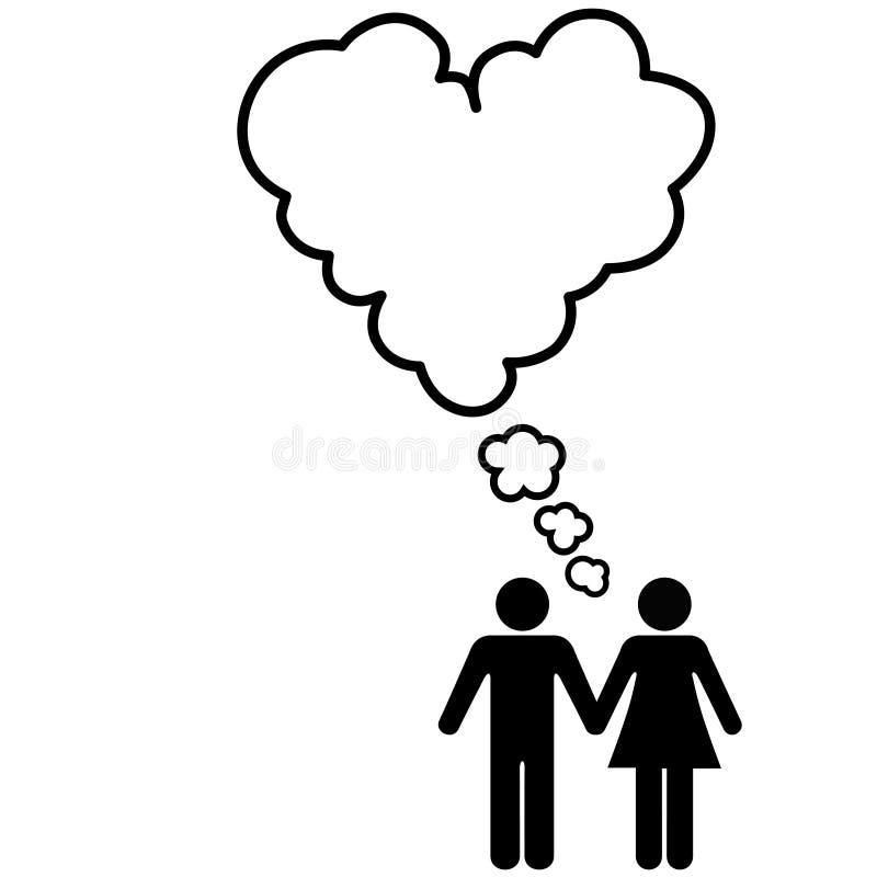 pary kierowej miłości romantyczne części myśli ilustracja wektor