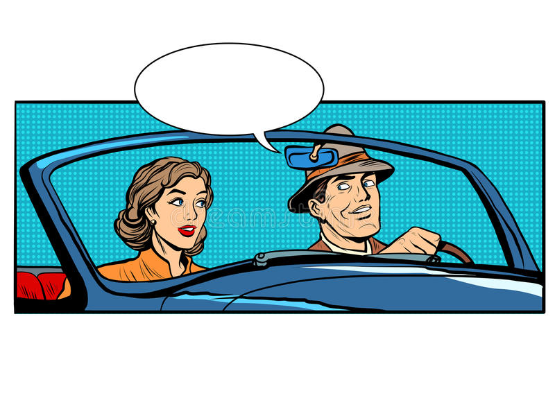 Pary kobieta w odwracalnym samochodzie i mężczyzna ilustracja wektor