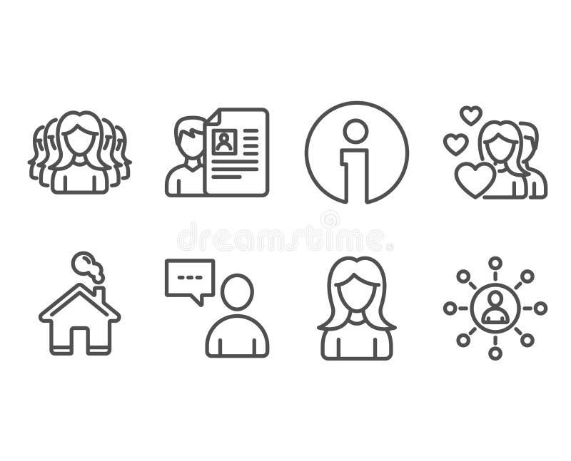 Pary, kobiety i kobiet grupowe ikony, Akcydensowy wywiad, użytkownicy gawędzi i networking podpisuje ilustracja wektor