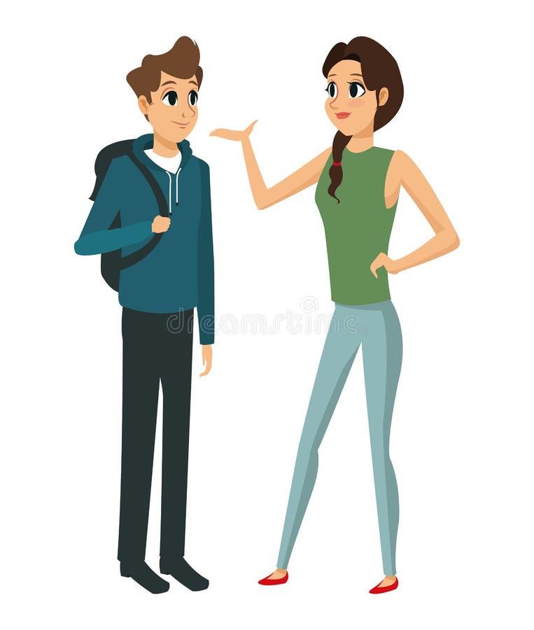 Pary młoda opowiada komunikacja ilustracji