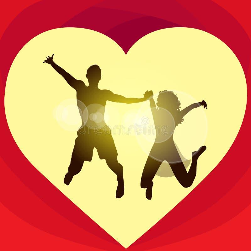 Pary miłości kształta skoku czerwona kierowa walentynki royalty ilustracja