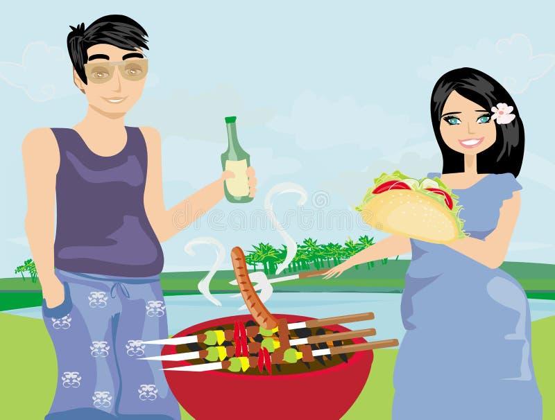 Pary opieczenia plenerowy mięso ilustracji