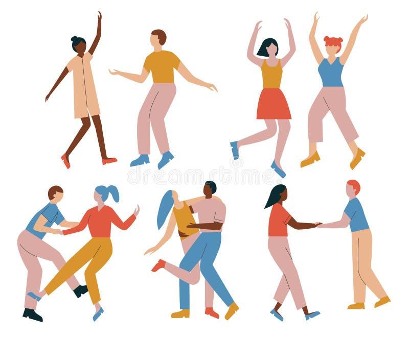 Pary postacie z kreskówki ma zabawa tana przy przyjęciem Mężczyźni i kobiety ubierali w modnym odzieżowym tanu przy klubem lub ko ilustracja wektor