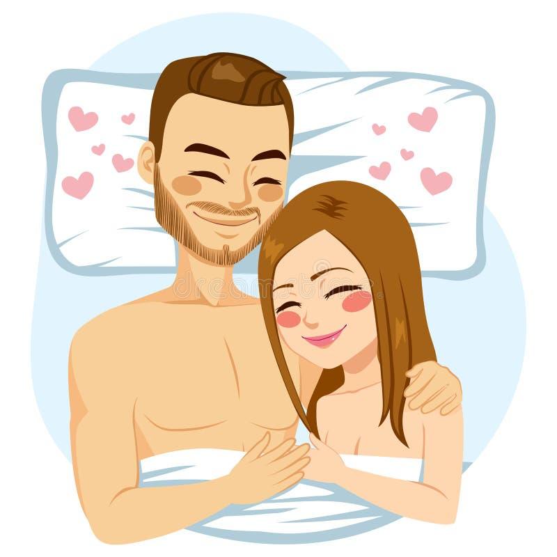 Pary przytulenia łóżko royalty ilustracja