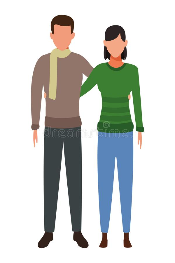 Pary przytulenie jest ubranym zimę odziewa royalty ilustracja