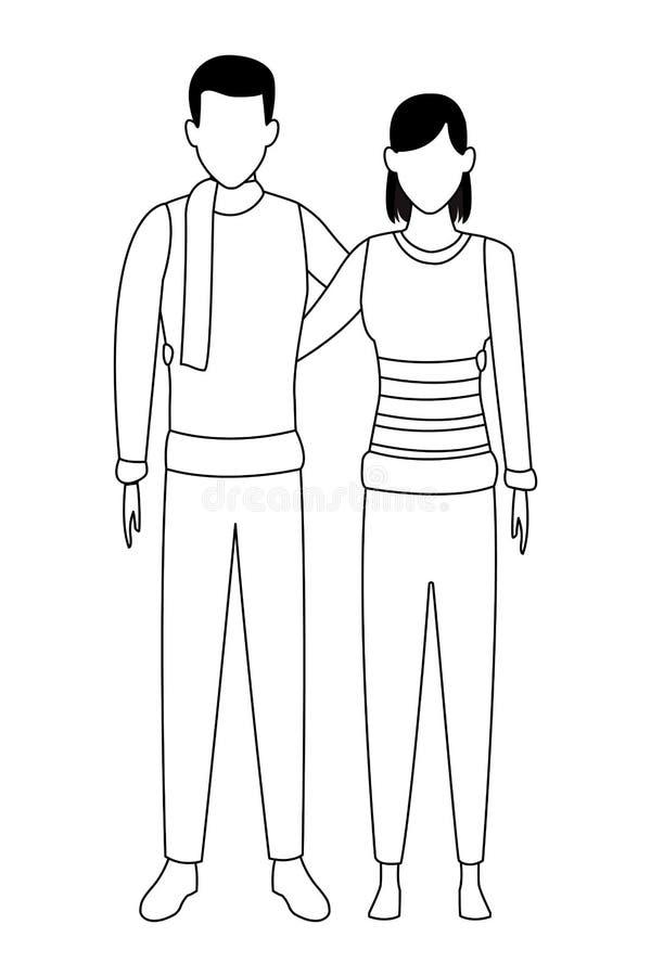 Pary przytulenie jest ubranym zim ubrania czarny i biały ilustracji