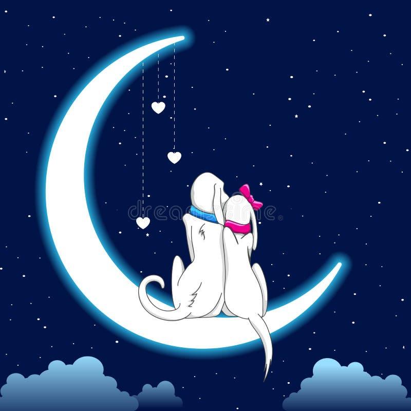 pary psa księżyc obsiadanie royalty ilustracja