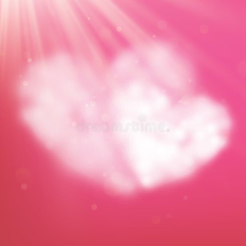 Pary serce kształtował chmurę w różowym niebie Walentynki s dzień 10 eps royalty ilustracja