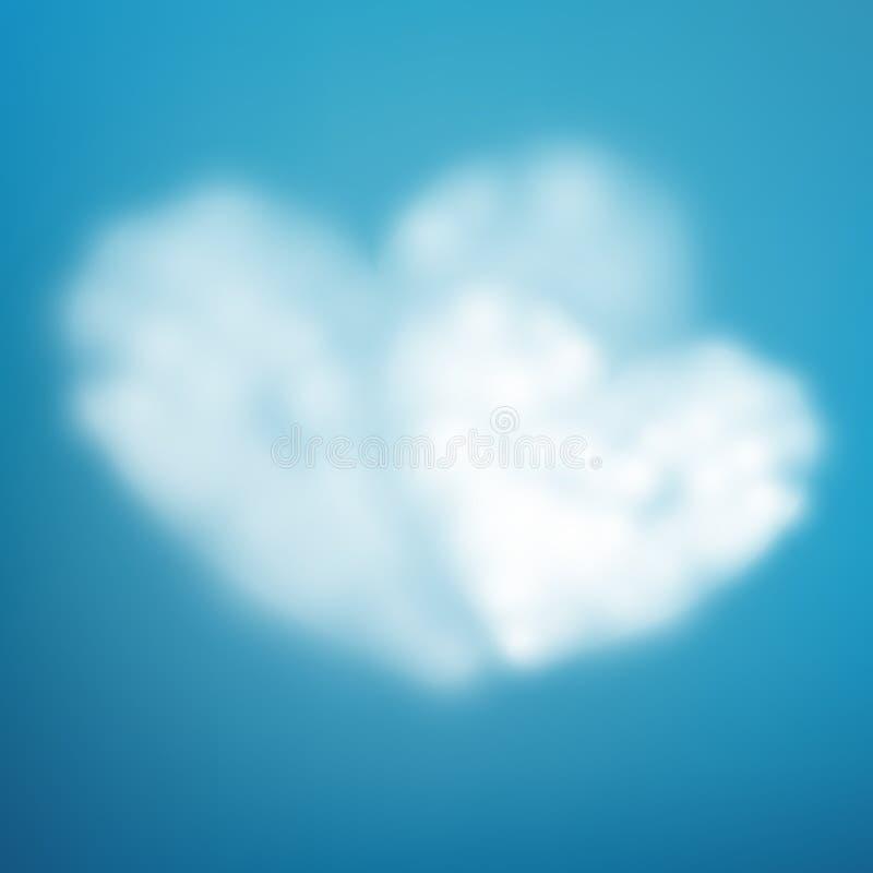 Pary serce kształtująca chmura w niebieskim niebie Walentynki s dzień 10 eps ilustracja wektor
