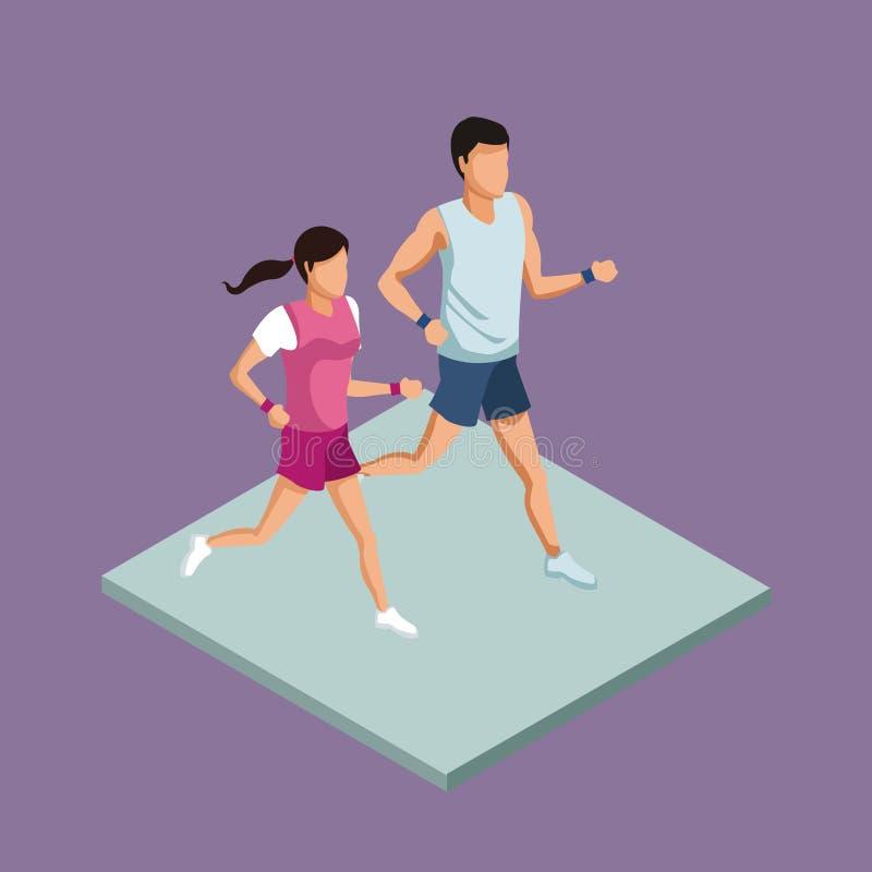 Pary sprawność fizyczna biega 3d royalty ilustracja