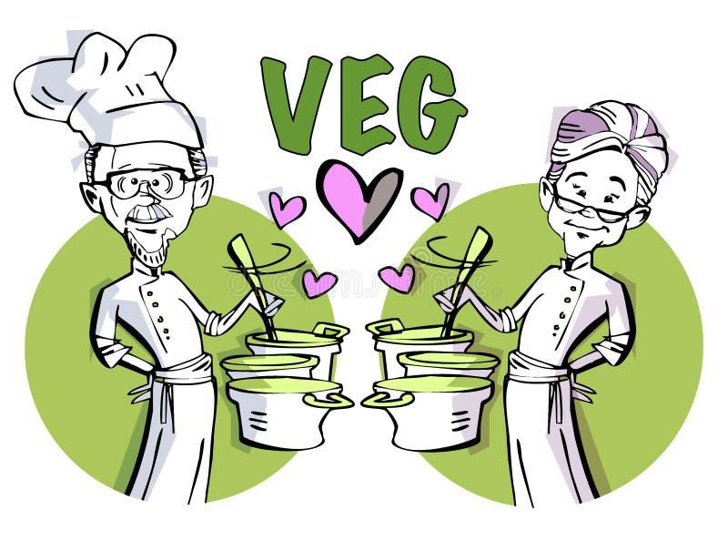 Pary starszy kucharstwo royalty ilustracja