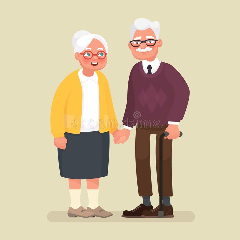 pary starszych osob ręk target841_1_ również zwrócić corel ilustracji wektora ilustracja wektor