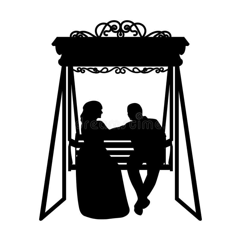 Pary sylwetka - Wektorowa ilustracja Państwo młodzi na huśtawce - ilustracja ilustracja wektor
