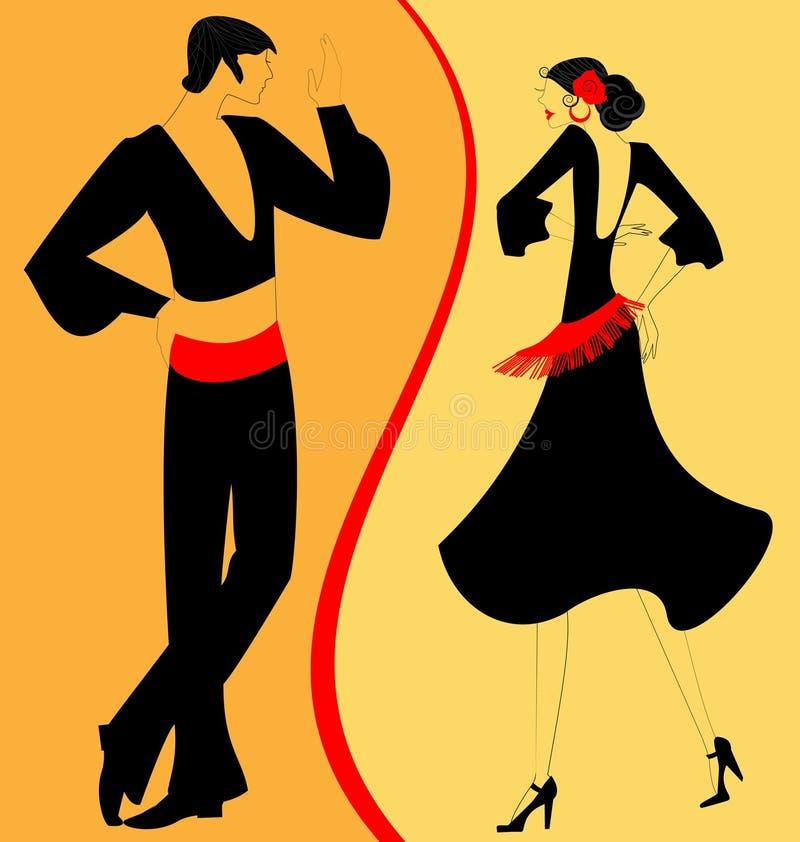 pary tancerza flamenco sylwetka royalty ilustracja