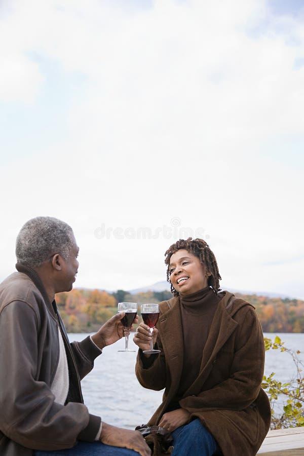 Pary wznosić toast zdjęcia royalty free