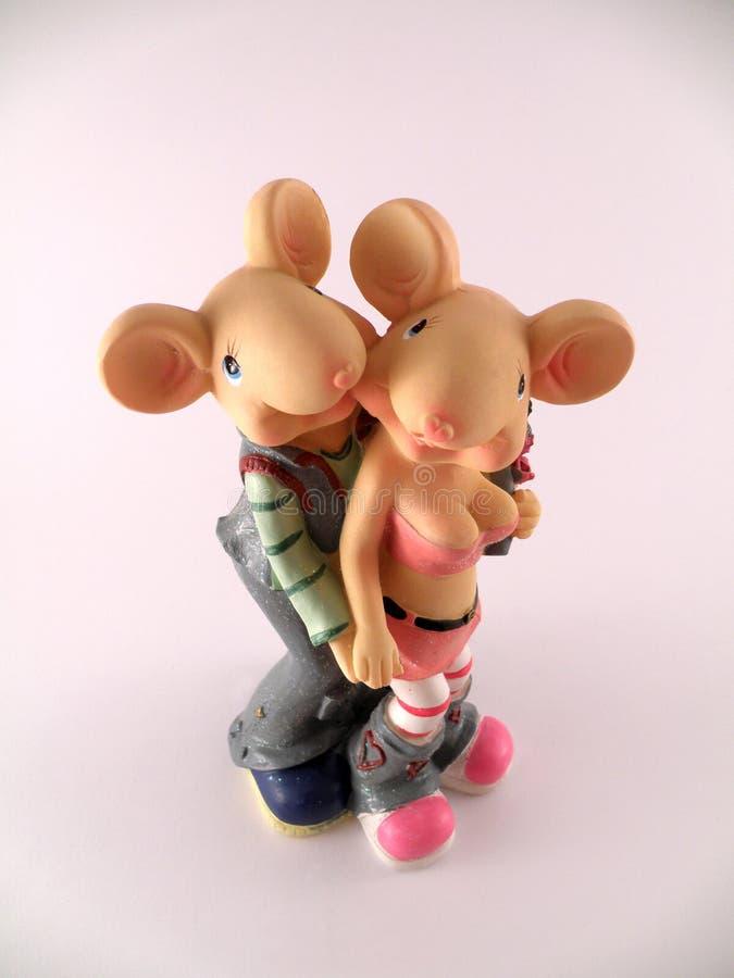 pary zakochana figurki mysz obraz stock