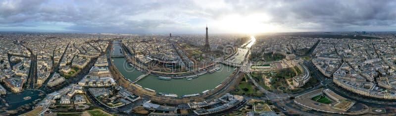 Paryscy 360 anteny pejzażu miejskiego Panoramiczny widok w Francja fotografia royalty free