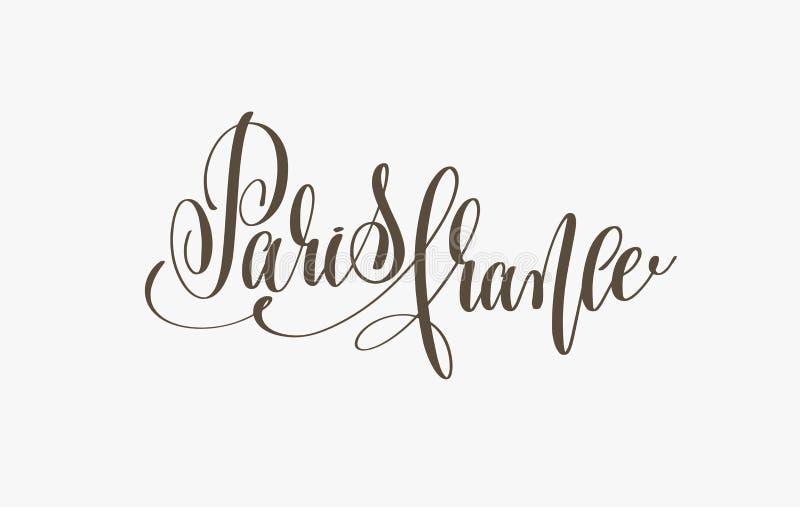 Paryska France ręki literowania inskrypcja podróżować kartę ilustracja wektor