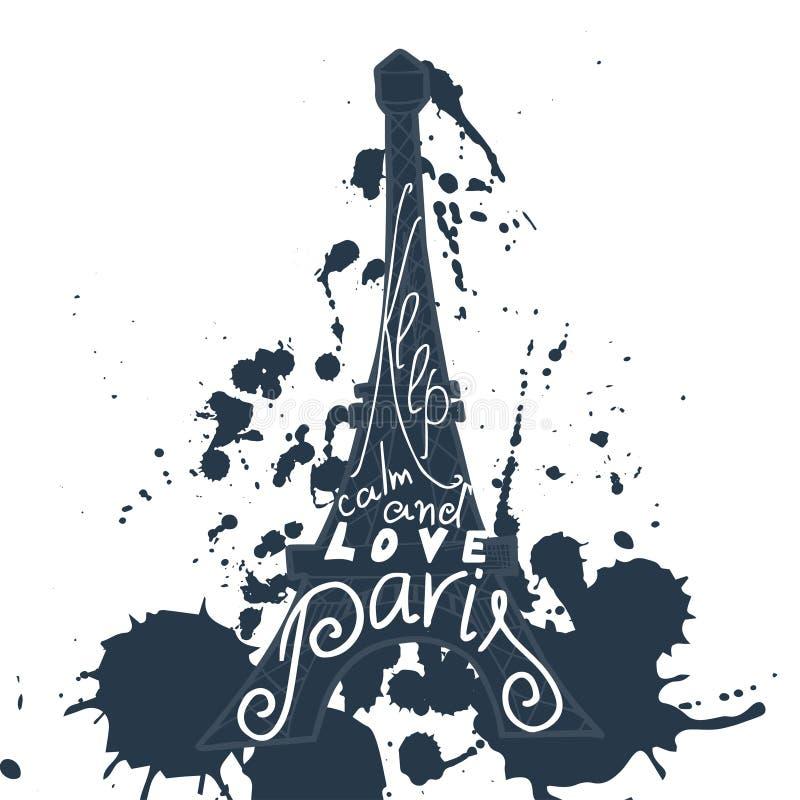 Paryska graficzna typograficzna karta Projekt wektorowa sztuka z kreatywnie sloganem royalty ilustracja