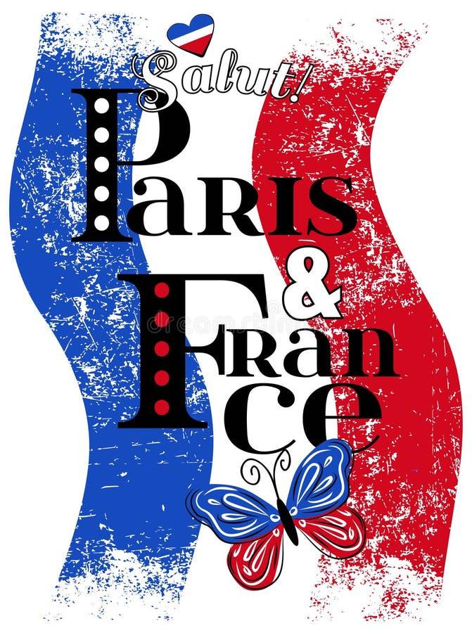 Paryska grafika dla koszulki, wektorowy druk ilustracja wektor