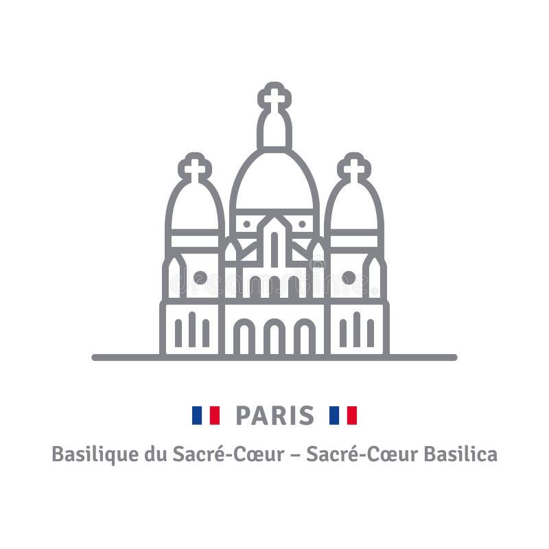 Paryska ikona z Sacre-Coeur flaga i bazyliką ilustracja wektor