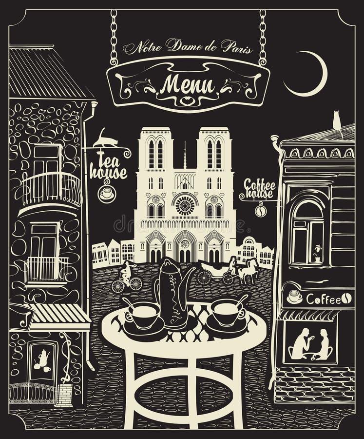 Paryska kawiarnia ilustracja wektor