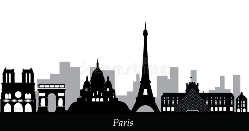 Paryska linia horyzontu od notre dame de paris royalty ilustracja
