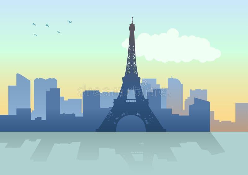 Paryska linia horyzontu od notre dame de paris ilustracja wektor