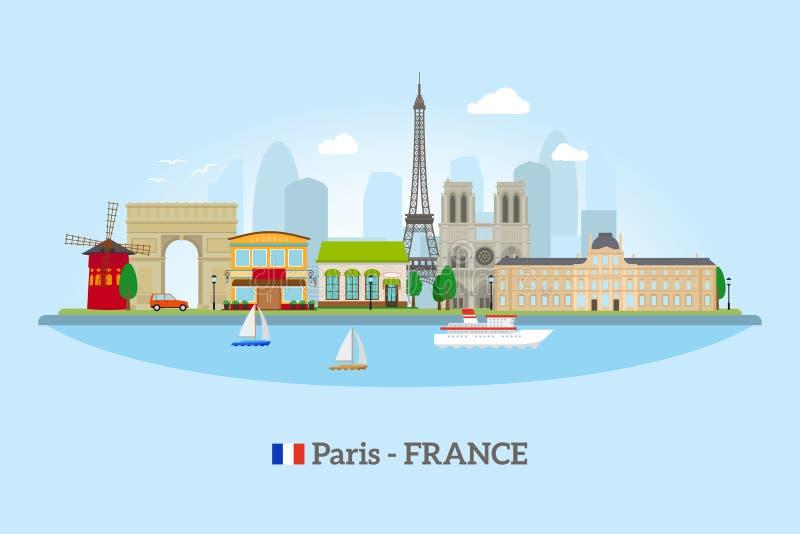 Paryska linia horyzontu w mieszkanie stylu ilustracja wektor
