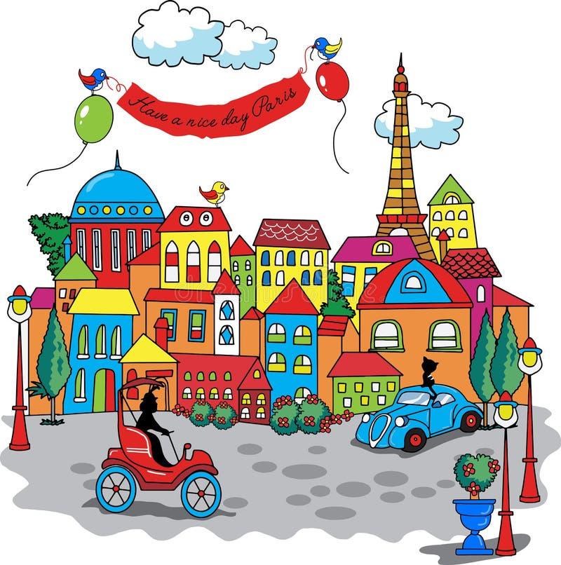 Paryska miasto kreskówka ilustracji
