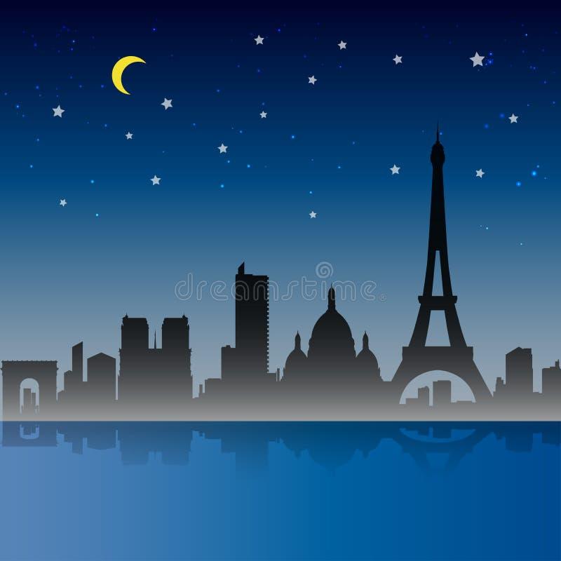 Paryska miasto nocy scena, Francja ilustracji