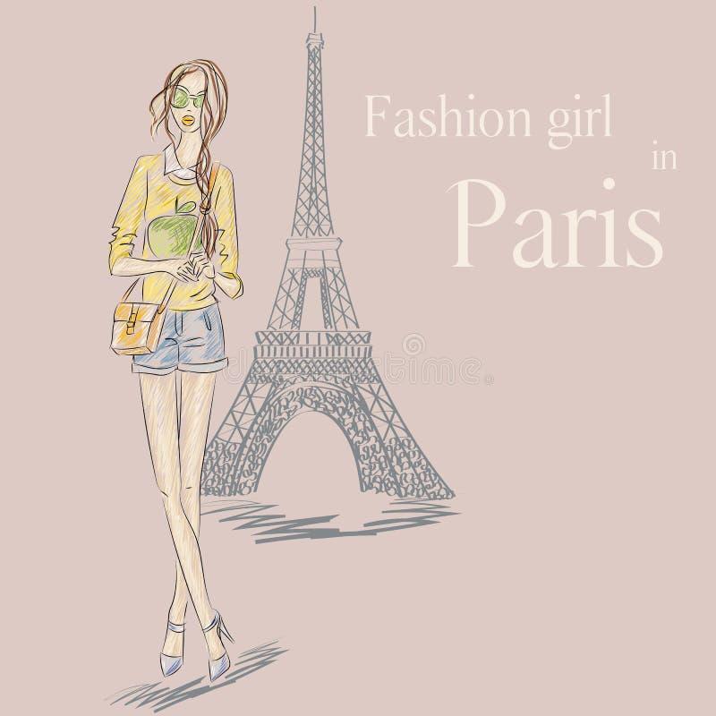 Paryska mody dziewczyna blisko wieży eifla royalty ilustracja