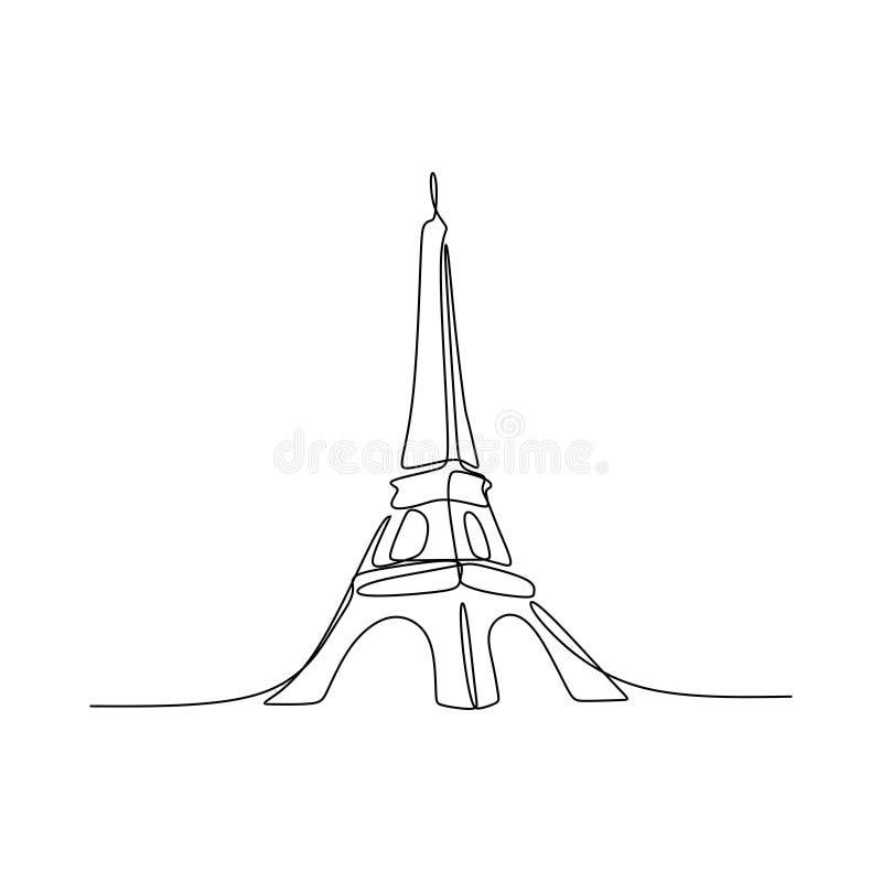 Paryska ręka rysujący wieży eiflej kreskowej sztuki wektorowy ilustracyjny ciągły pojedynczy rysunek odizolowywający na białym tl ilustracji