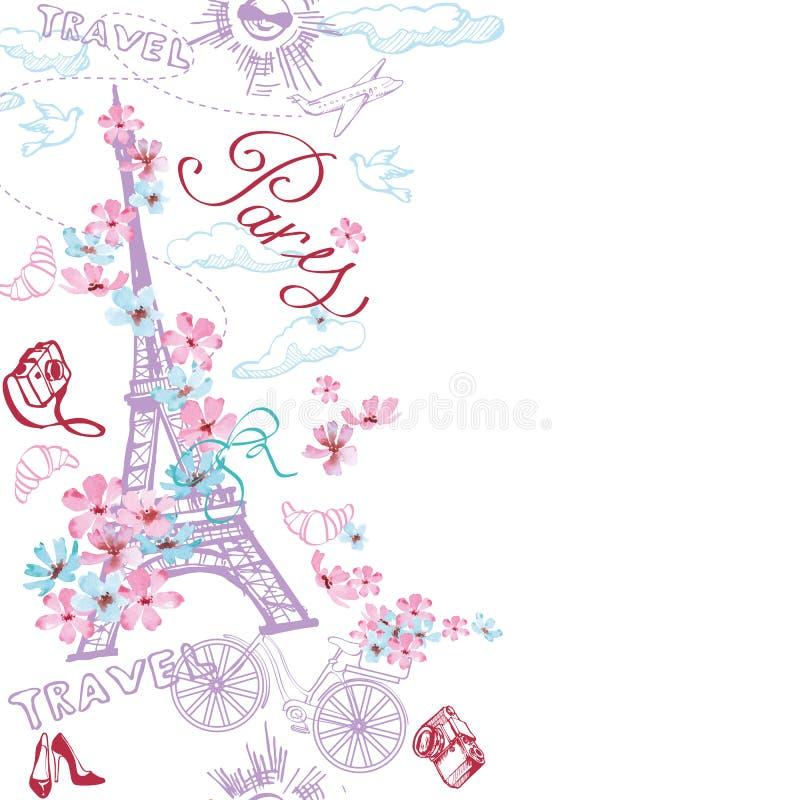 Paryska romantyczna doodle karta Romantyczna podróż w Paryż wektor royalty ilustracja