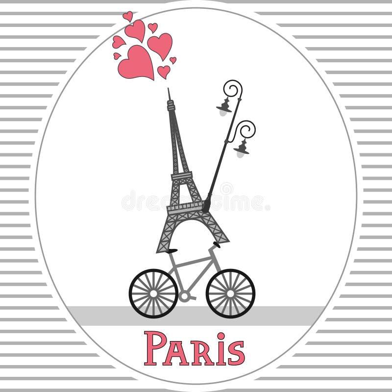 Paryska rower karta ilustracja wektor