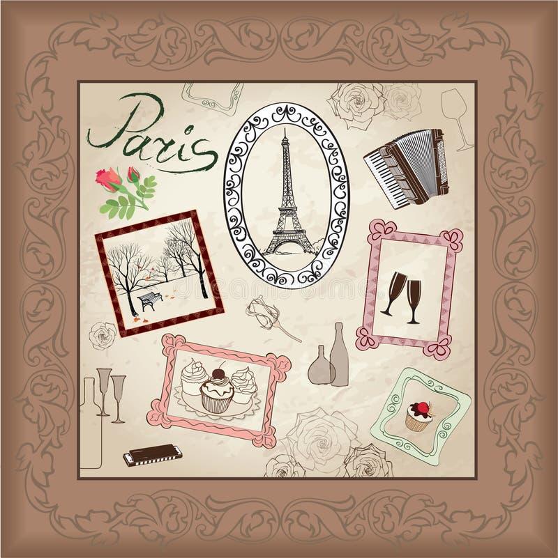 Paryska wieża eifla Paryska ręka rysujący symbolu obrazek w ramie z projektów elementami ustawiającymi Miłości Paris rocznika ram royalty ilustracja