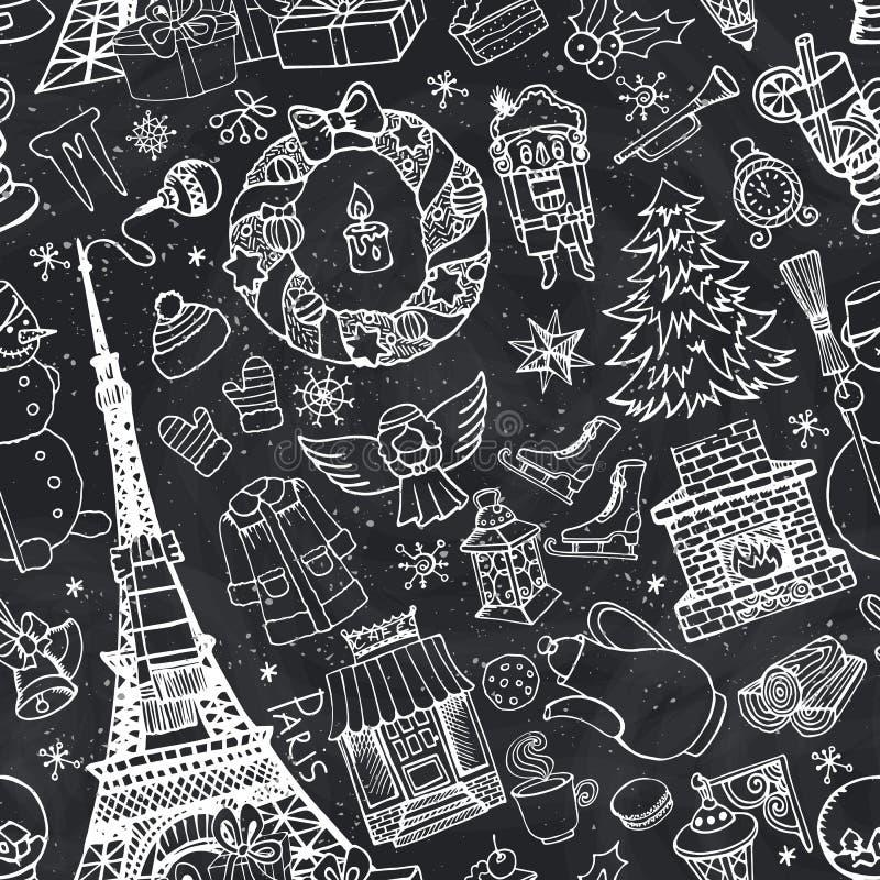 Paryska zima, Doodle bożych narodzeń bezszwowy wzór kreda ilustracji