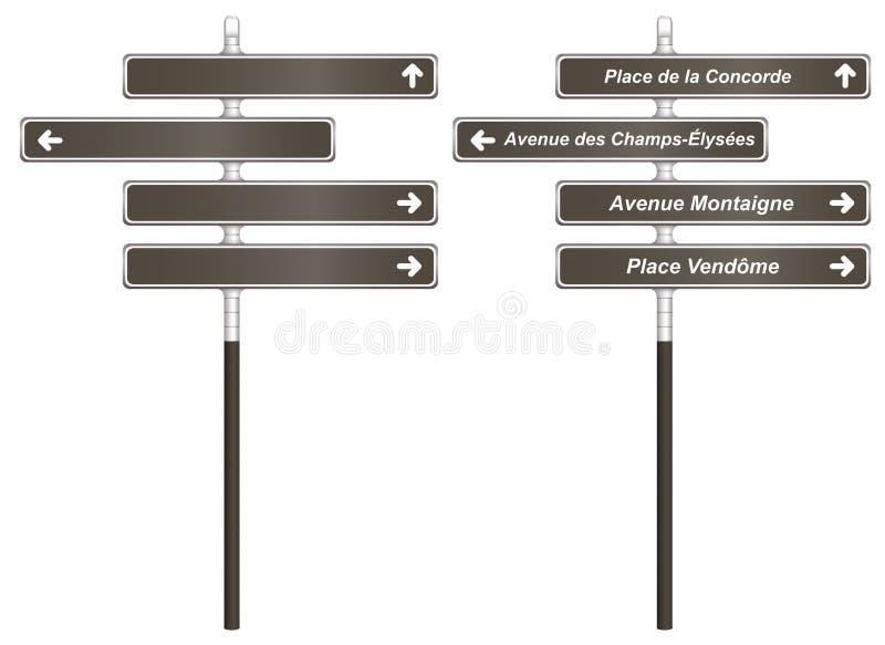 Paryski miast Signboards szablon zdjęcie stock